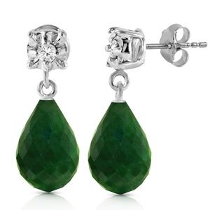 GOLD STUD EARRINGS WITH DIAMONDS & EMERALDS